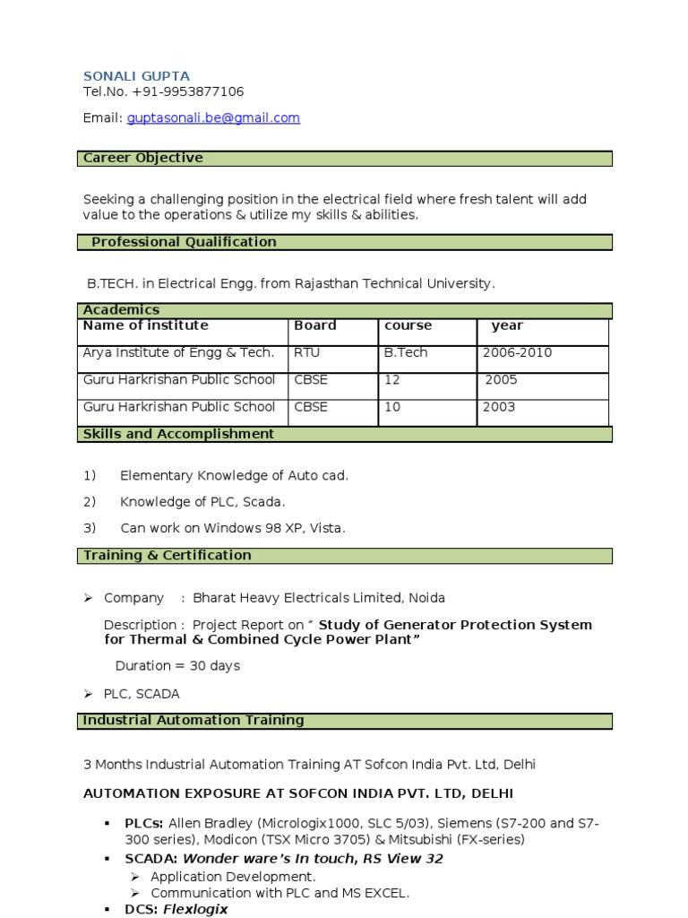 Sonali Resume) | Programmable Logic Controller | Scada