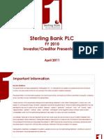 Sterling Bank PLC FY 2010 Investor-Creditor Presentation