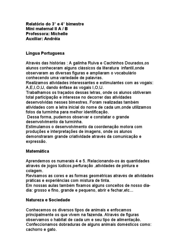 Populares Relatorio individual educacao infantil 3 anos - .: MODELO DE  AB73