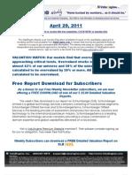 ValuEngine Weekly newsletter April 29, 2011