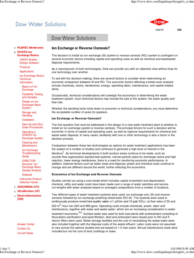 Ion Exchange Or Reverse Osm Water Treatment