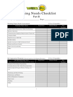 Training Needs Checklist