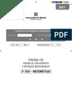 PRUEBA 3º ESO MATEMÁTICAS COMUNIDAD DE MADRID