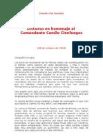 Discurso en Homenaje Al Com Andante Camilo Cienfuegos