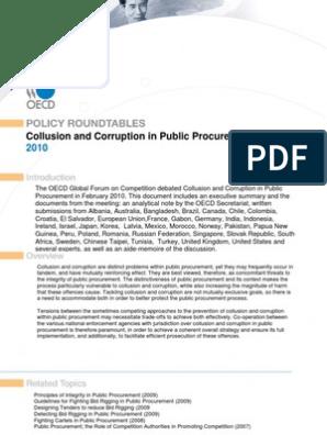 Oecd Public Procurement Reducing Corruption Corruption