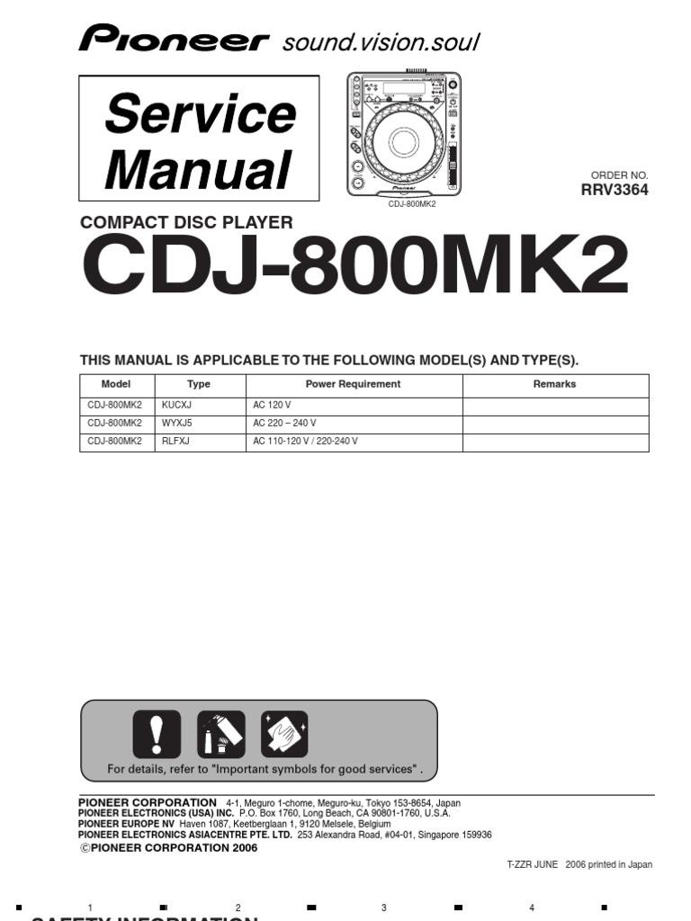 pioneer cdj 800mk2 service manual electrical connector laser rh scribd com cdj 2000 service manual pdf service manual cdj 2000 nxs2
