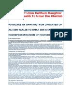 Marriage of Umm Kulthum Daughter Ofali Ibn Taalib to Umar Ibn Khattab
