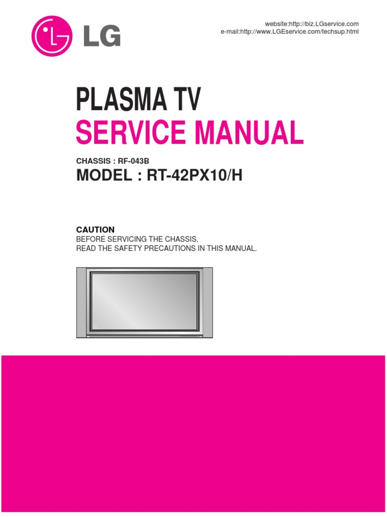 Lg Plasma Tv Rt42px10service Manual | Electromagnetism | Electronic  Engineering