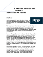 Articles of Faith and Qadiani's claims