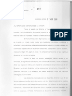Mensaje al Congreso Nacional por el envio Proyecto Ley de Protección al Dominio Nacional sobre las Tierras Rurales