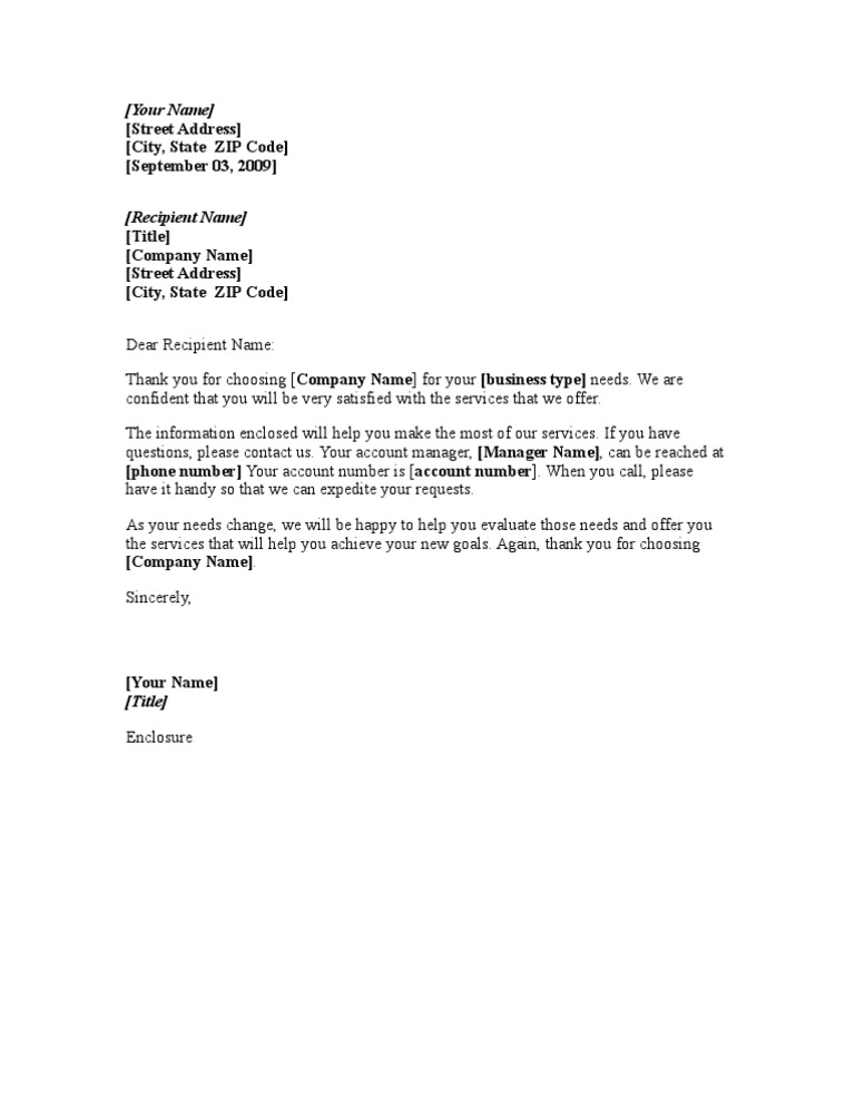 New Client Welcome Letter – Thank You for Your Business Letter