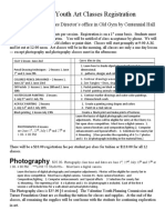 Summer Youth Art Classes Registration Form 2011