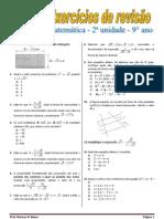 Exercícios de revisão de matemática - 2ª unidade