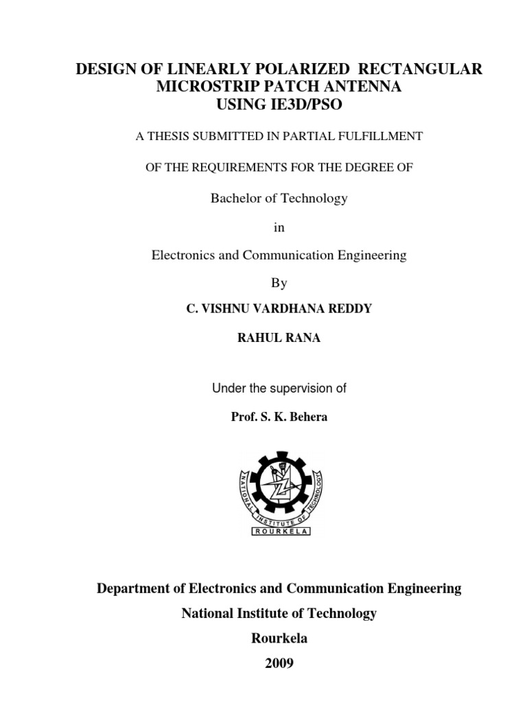 phd thesis on microstrip patch antenna