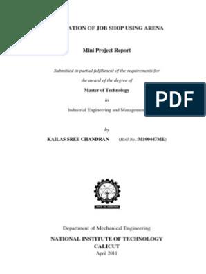 Simulation of Job Shop using Arena - Mini Project Report   Computer