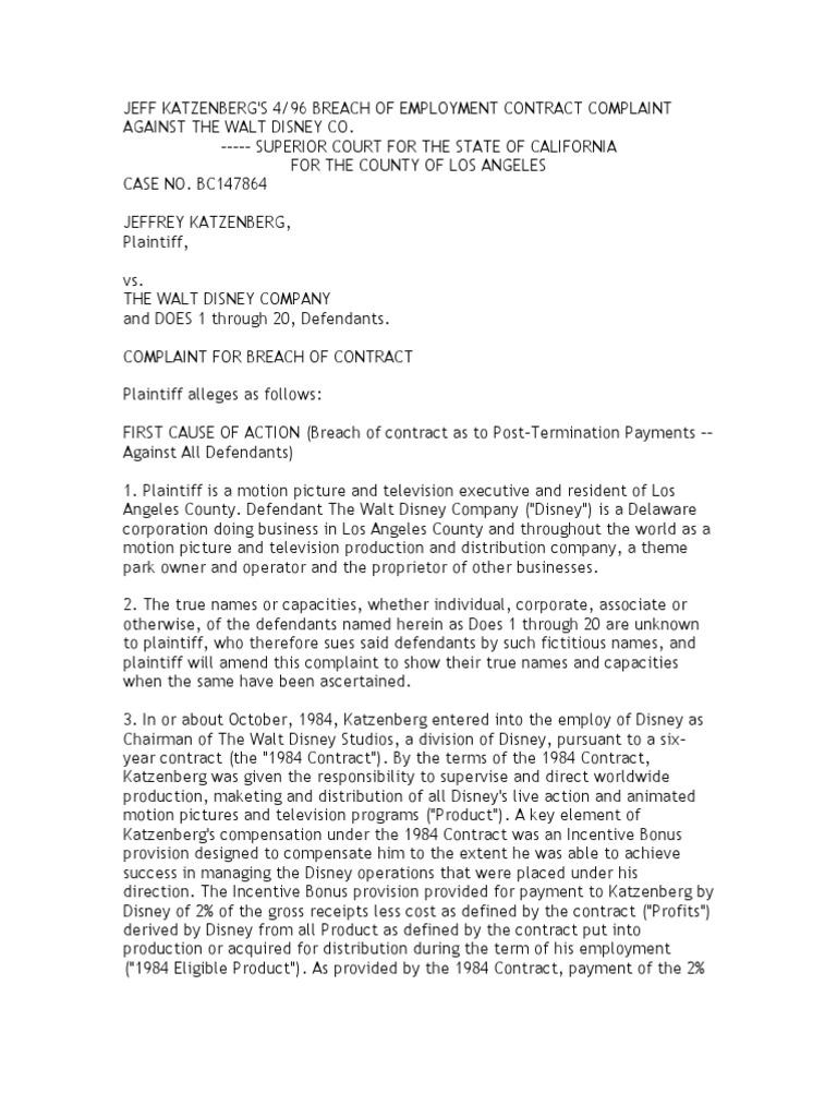 Elegant Sample Complaint | Breach Of Contract | Walt Disney
