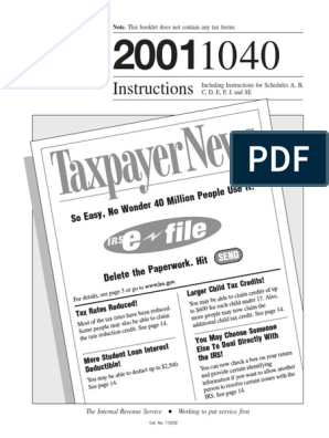 US Internal Revenue Service: i1040--2001   Irs Tax Forms