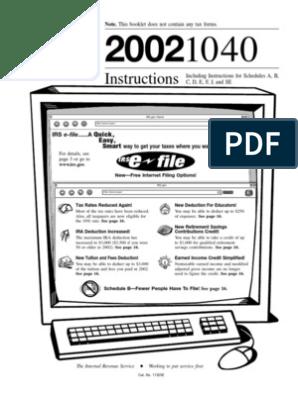 US Internal Revenue Service: i1040--2002   Irs Tax Forms