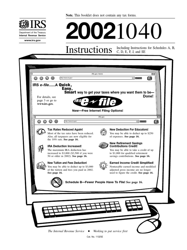 Us Internal Revenue Service I1040 2002 Irs Tax Forms Tax