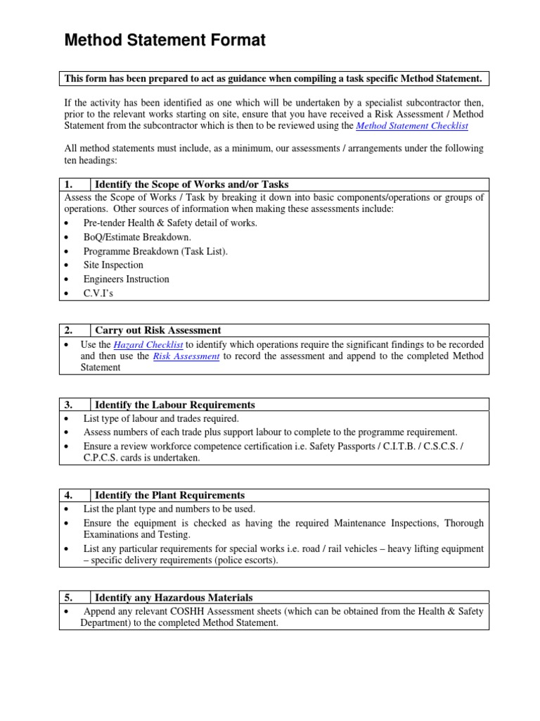 Construction Method Statement Format I Whattam 2007 – Health and Safety Method Statement Template