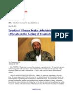 President Obama Senior Administration Officials on the Killing of Osama Bin Laden