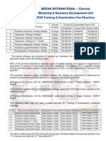 PCN Examination and Training Fee Structure