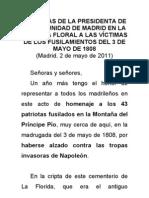 PALABRAS DE LA PRESIDENTA DE LA COMUNIDAD DE MADRID EN LA OFRENDA FLORAL A LAS VÍCTIMAS DE LOS FUSILAMIENTOS DEL 3 DE MAYO DE 1808