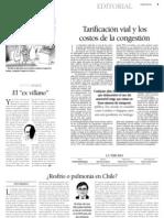 8 23  La Tercera - Editorial - Tarificación vial y los costos de congestión