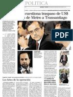 8 25  LaTercera -Contraloriá cuestiona traspaso de $80 millones de Metro a Transantiago