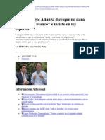 11 19   La Tercera - Transantiago-  Alianza no dará cheque en blanco e insiste en ley especial