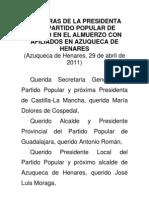 Palabras de la presidenta del Partido Popular de Madrid en el Almuerzo con afiliados en Azuqueca de Henares