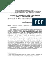 Declaracion de Inconstitucionalidad de Oficio Brizuela