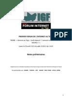 Rapport du 1er Forum de La Gouvernance de l'Internet au Togo - Rapport 1er Forum