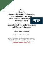 Undergrad Summer Research Fellowships 2011 App