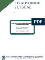 Fiscalité et comportement dinvestissement[1]. cahier de recherche N°162006