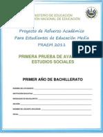 Primera Prueba de Avance  - Estudios Sociales - Primer Año de Bachillerato