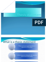 Thesis Statement (for Present)