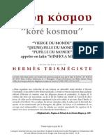[Alchimie] Hermès Trismégiste - Kore Kosmou