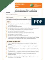 Allergen Control Checklist Manufacturer 0908