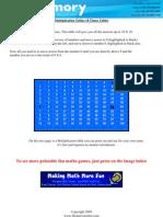 Printable Maths Tables