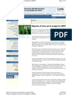 Majority of Firms Yet to Budget for MIFID Article