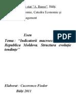 1 Eseu Indicatorii Macroeconomici in Republica Moldova