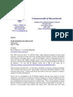 Press Release MA Register of Deeds John O'Brien