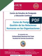 """Postgrado """"Gestión de las Relaciones Humanas"""""""
