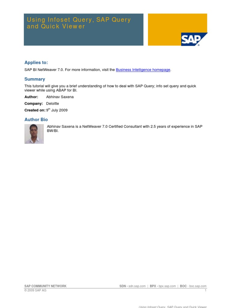 Step by step guide to create infoset sap query in ecc information step by step guide to create infoset sap query in ecc information retrieval information technology baditri Image collections