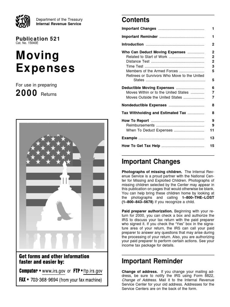 US Internal Revenue Service: p521--2000   Expense   Tax Deduction