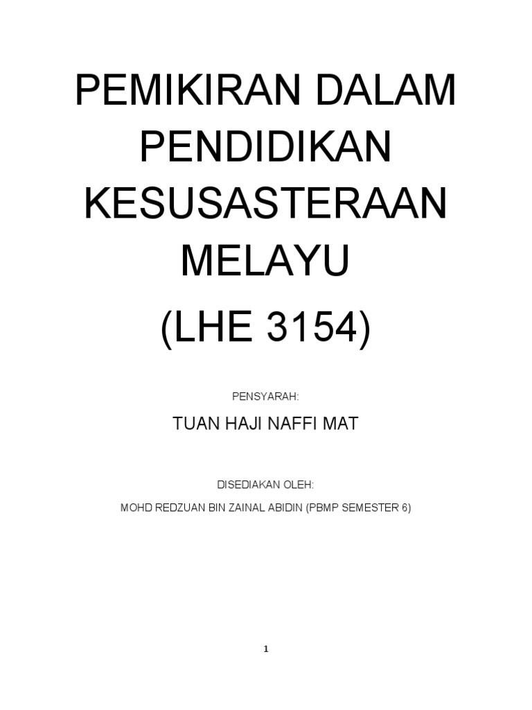 Nota Pemikiran Dalam Pendidikan Kesusasteraan Melayu