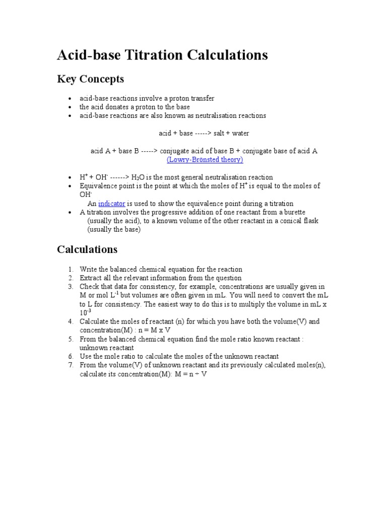 Acid-base Titration Calculations: Key Concepts