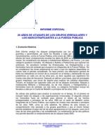 Informe Especial Ataques Guerrillas y Narcotrafico