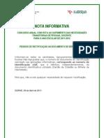 Nota Informativa - Rectificação do BI; 2011.mai.02